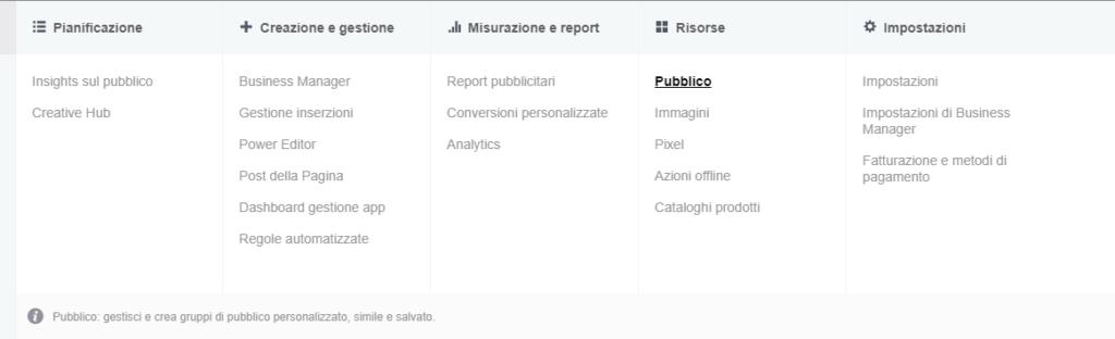 menu di facebook business manager e1509910691841